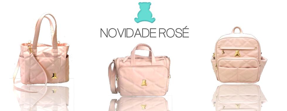 Novidade de bolsas maternidade em sintético rosé