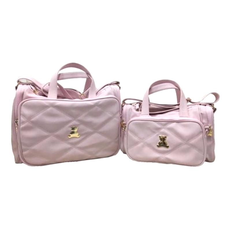Dupla de bolsas maternidade em sintético rosa