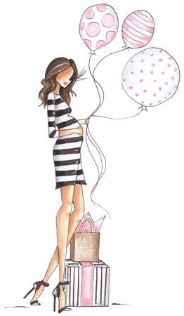 grávida segurando balões
