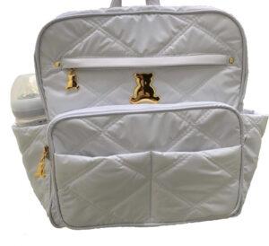 mochila maternidade ref. 170 em nylon soft matelassado branco